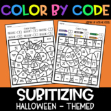 Halloween Subitizing | No Prep Color By Number Activities