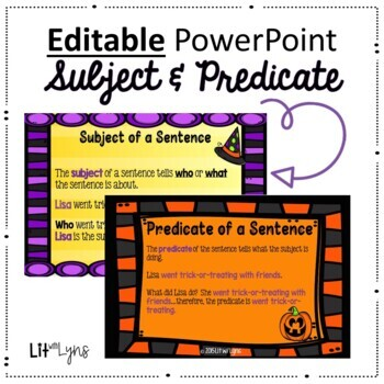Halloween Themed Intro to Subject & Predicate- Practice & Worksheets