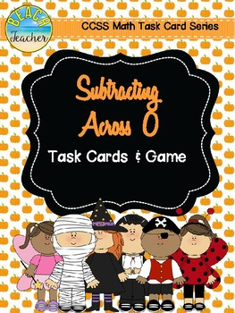 Halloween Themed Subtracting Across 0 Task Cards & Game 2.NBT.5