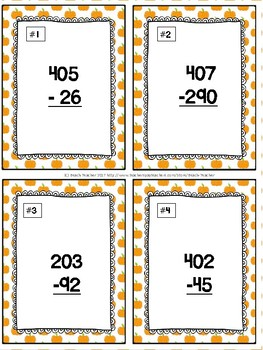 Halloween Themed Subtracting Across 0 Task Cards & Game