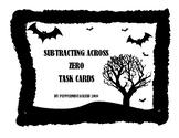 Halloween Themed Subtracting Across Zero Task Cards