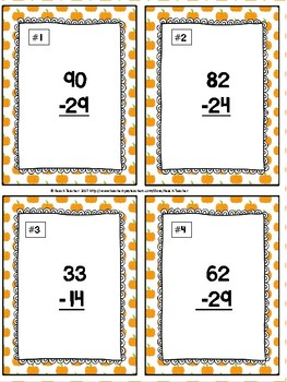 Halloween Themed Subtraction With Regrouping Task Cards & Game 2.NBT.5