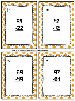Halloween Themed Subtraction Without Regrouping Task Cards & Game 2.NBT.5