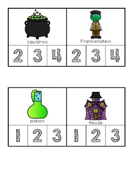 Halloween Themed Syllable Count and Clip Cards - Kindergarten Literacy Centers