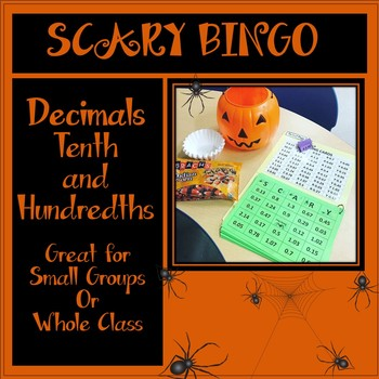 Halloween Themed Tenth and Hundredths Decimal SCARY Bingo!