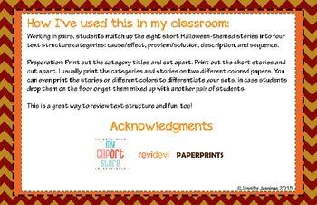 Halloween Themed Text Structure Match