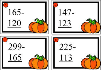 Halloween Themed Three Digit Addition and Subtraction Cards