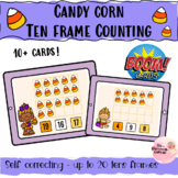 Halloween Themed Trolls candy corn Counting BoomCards tens frames