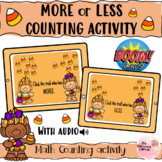 Halloween Themed Trolls more or less counting Boom card activity