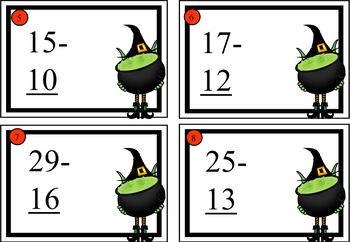 Halloween Themed Two Digit Addition and Subtraction Cards
