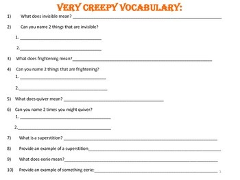 Halloween Themed Vocabulary Game & Worksheets Packet