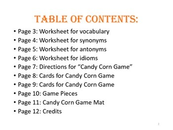 Halloween Themed Vocabulary Game & Worksheets Packet #spookysale