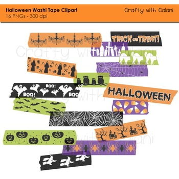 Halloween Themed Washi Tape Digital Clipart - 16 High Res Clipart