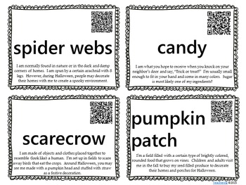 Halloween Themed Word Wall with QR Codes & Definitions