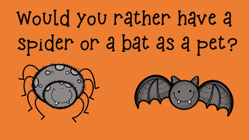 """PowerPoint Halloween Themed - """"Would You Rather"""" slideshow brain break"""