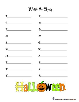 Halloween Themed- Write the Room