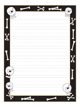 Halloween Themed Writing Paper Three Designs: Bats, Spiders, and Bones!