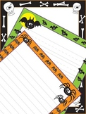 Halloween Themed Writing Paper Three Designs: Bats, Spider
