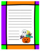 Halloween Themed Writing Template Paper - Black and White & Colour