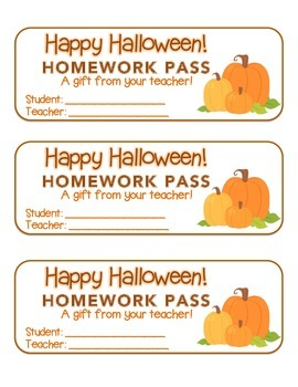 """Halloween"" Three Pumpkins - Homework Pass – FUN! (color & black line)"