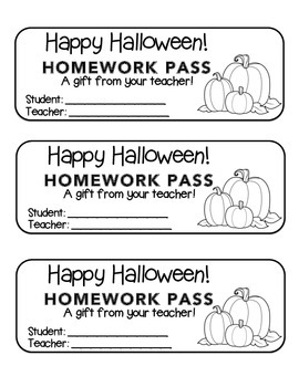"""Halloween"" Three Pumpkins - Homework Pass –Holiday FUN! (black line)"