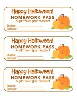 """Halloween"" Three Pumpkins - Homework Pass – Holiday FUN! (full color)"