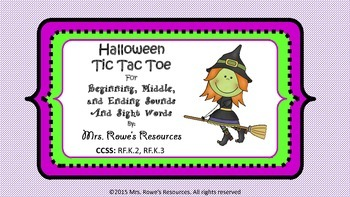 Beginning, and Middle and ending Sounds AND Sight Words Halloween Tic Tac Toe