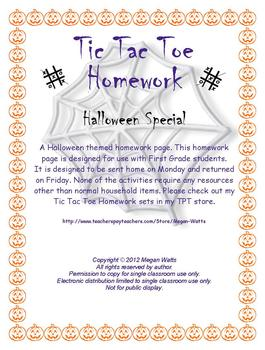 Halloween Tic Tac Toe Homework
