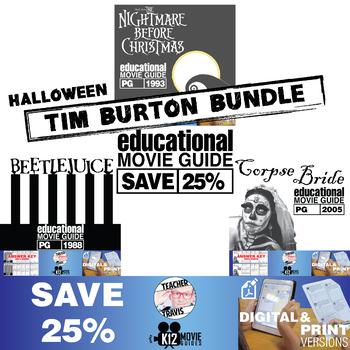 Halloween - Tim Burton - Movie Guide | Worksheet Bundle - SAVE OVER 25%