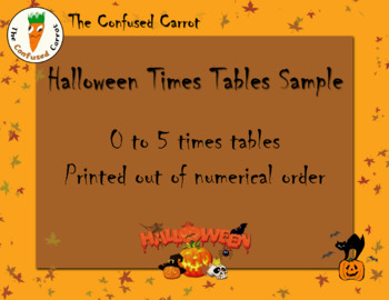 Halloween Times Tables - Sample