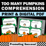 Halloween Literacy Centers, Too Many Pumpkins by Linda White Book Companion