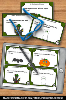 Halloween Book Activities In the Haunted House Task Card Games 1st 2nd Grade