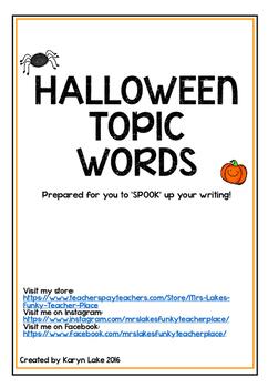 Halloween Topic Word Wall Cards