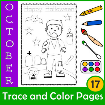 Halloween Trace and Color Pages