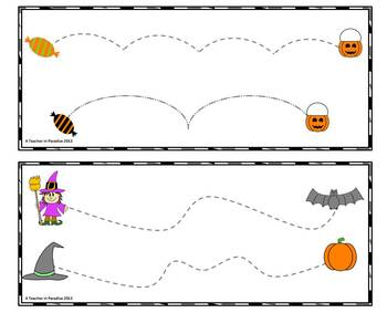 Halloween Tracing Lines Fun ~ Fine Motor Skills Tracing Cards Set