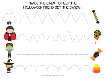 Halloween Tracing Page, Fine Motor, Preschool Music and Movement Activity