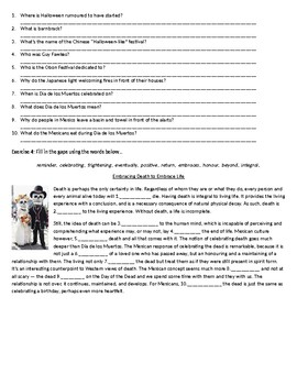 Halloween Traditions Around The World - Reading Comprehension Text