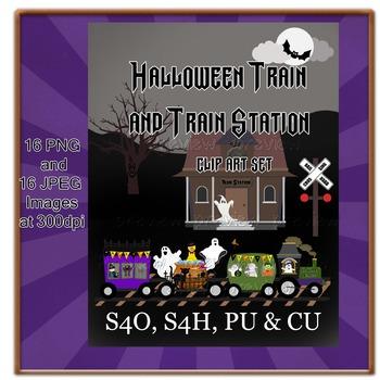 Halloween Train Clip Art Set