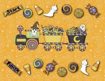 Halloween Train Reading Game:  CVC Words and Sentences