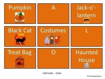 Halloween BINGO Game Vocabulary Activity