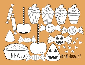 Halloween Treats Digital Clip Art Set- Black Line Version