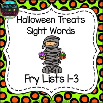 Halloween Treats Sight Words! Bundle of Fry Lists 1-3