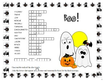 Halloween Trick-Or-Treat Word Scramble