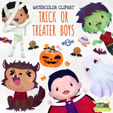 Halloween Trick Or Treaters Boys Watercolor Clipart   Inst