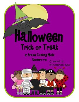 Halloween Trick or Treat 10 Frame Counting Mats (1-10)