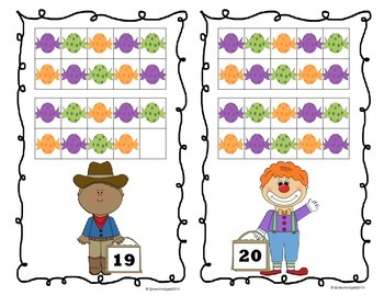 Halloween Trick or Treat 10 Frame Counting Mats (11-20)
