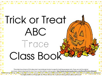Halloween Trick or Treat ABC Class Book Trace Dotted Letters & Illustrate