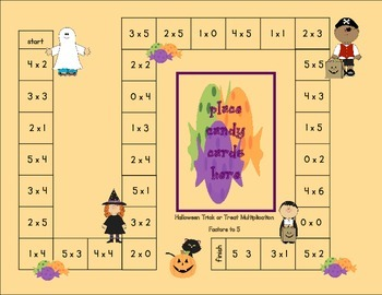 Halloween Trick or Treat Multiplication Board Games