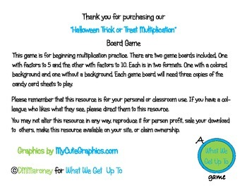 Halloween Trick or Treat Multiplication Board Games