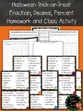 Halloween Fraction, Decimal, Percent Homework and In Class Activity